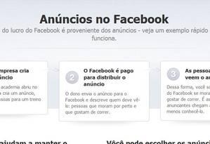 Página explica sobre anúncios no Facebook Foto: Reprodução