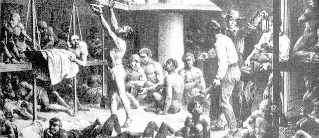 A obra Navio Negreiro, de Rugendas, mostra as condições em que eram transportados negros capturados como escravos; tráfico trouxe a malária para a América do Sul Foto: Divulgação