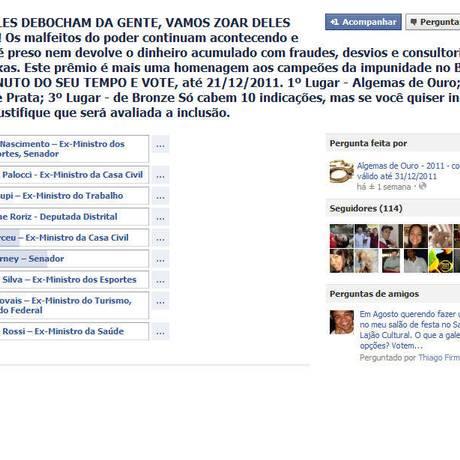 Grupo anticorrupção lança no Facebook a eleição Algemas de Ouro Foto: Reprodução internet