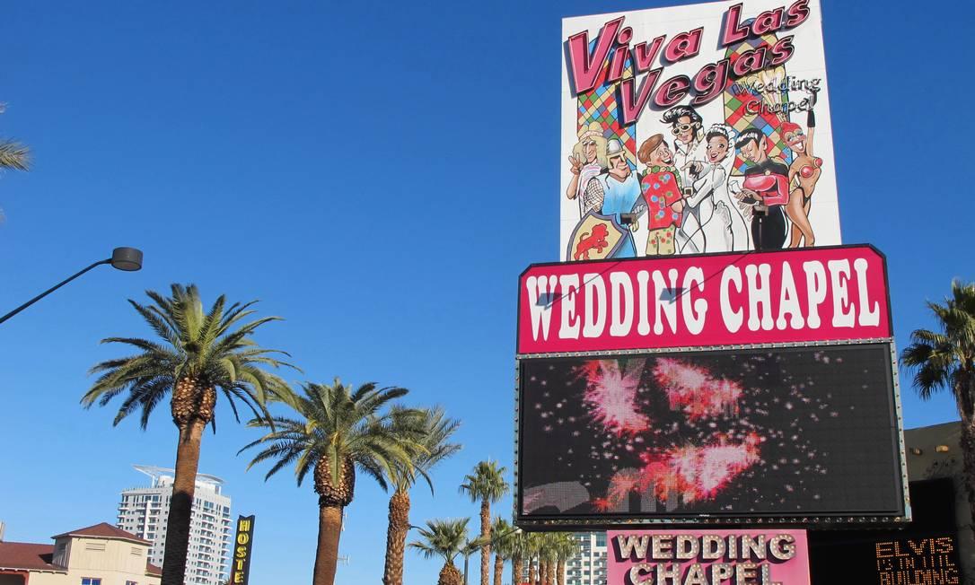 """A capela Viva Las Vegas, especializada em casamentos temáticos (o cardápio varia de """"Jornada nas Estrelas"""" a vampiros), tem 12 pacotes dedicados aos fãs de The Pelvis Foto: Eduardo Maia / O Globo"""