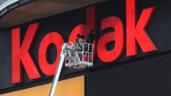 Outdoor da Kodak é instalado na Time Square, em Nova York, no ano de 2009, quando a empresa lançava uma linha de câmeras digitais Foto: EMMANUEL DUNAND / AFP