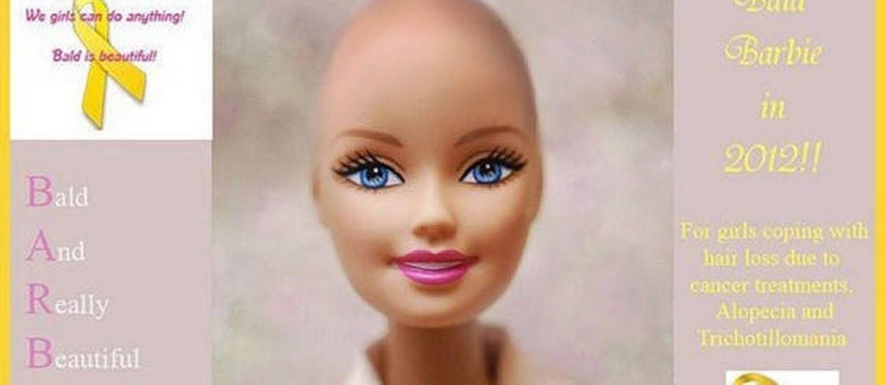 Panfleto virtual da campanha 'Beautiful and bald Barbie! Let's see if we can get it made' Foto: Reprodução