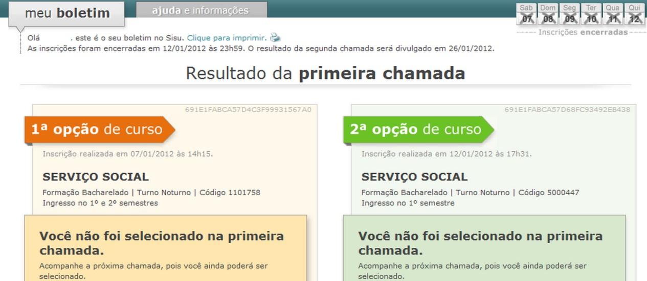 Reprodução da págida de candidato informa que ele não foi aprovado Foto: Reprodução internet / Agência O Globo