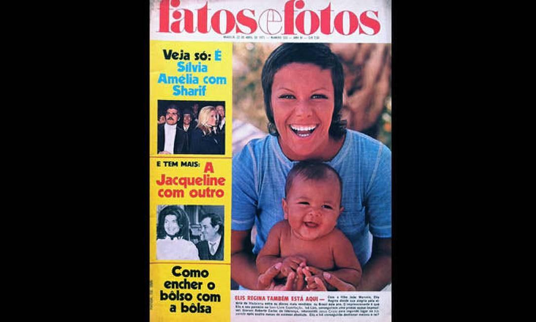 Capa da 'Fatos e fotos' de 22 de abril 1971, com Elis Regina e o filho João Marcello, com 10 meses de idade, parte da exposição 'Viva Elis' Foto: Divulgação