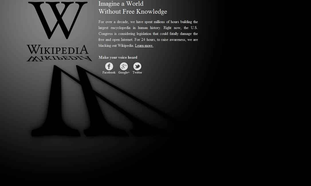 A Wikipédia em língua inglesa decidiu sair do ar em protesto contra leis antipirataria nos EUA Reprodução