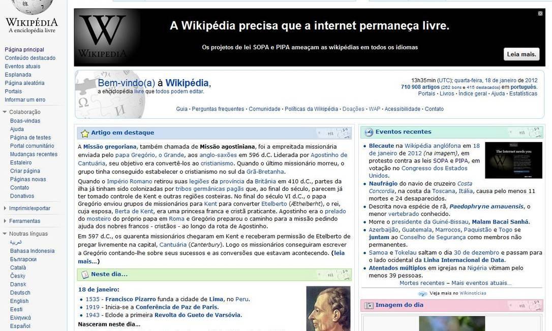 A versão brasileiras da enciclopédia virtual permanece no ar, mas convida o usuário a entender o que se passa no Congresso americano Reprodução