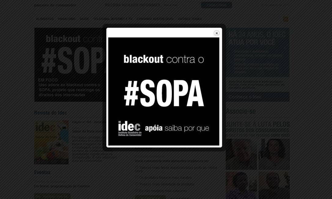 O site do Idec, Instituto de Defesa do Consumidor no Brasil, também optou por apoiar o blecaute Reprodução