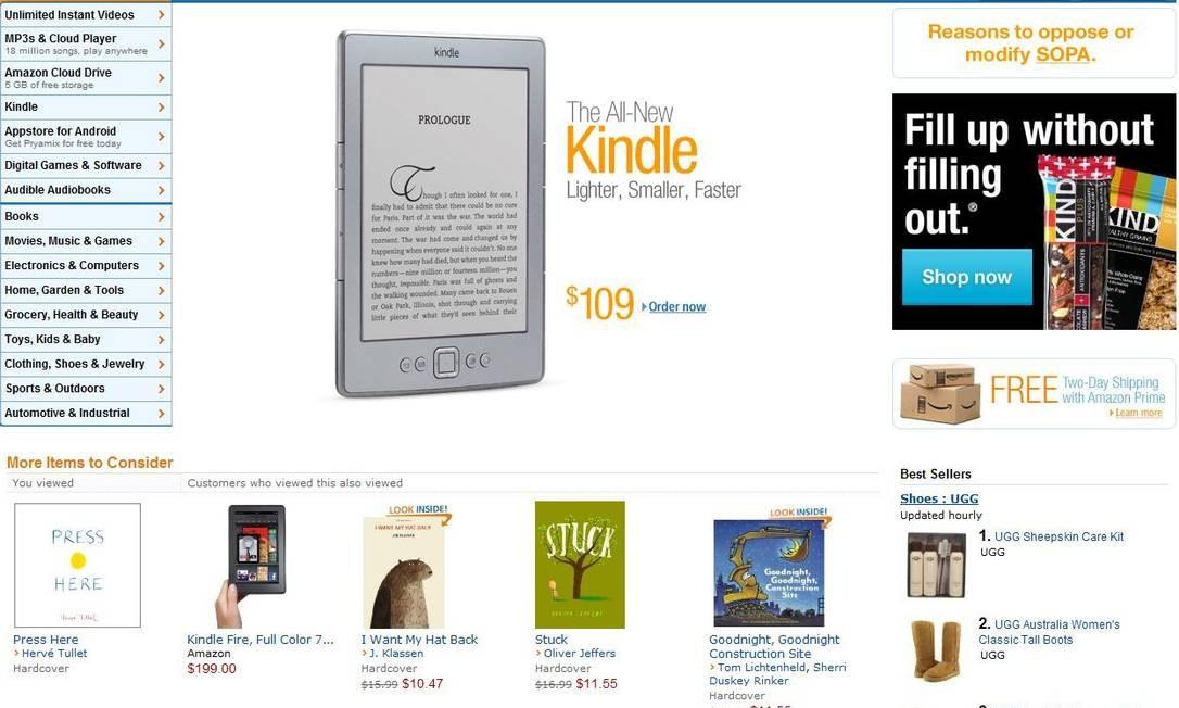 O site da Amazon não saiu do ar mas publicou uma mensagem sobre razões para alterar as normas do SOPA Reprodução