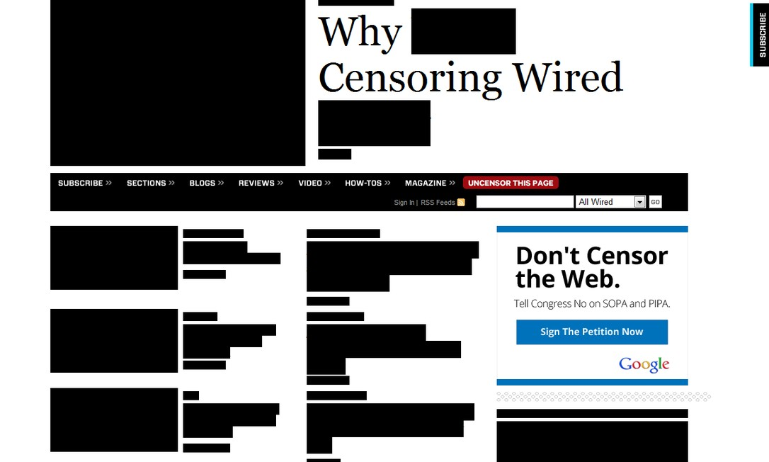 Site da revista 'Wired' participa do protesto com faixas pretas que desaparecem ao passar do mouse Reprodução