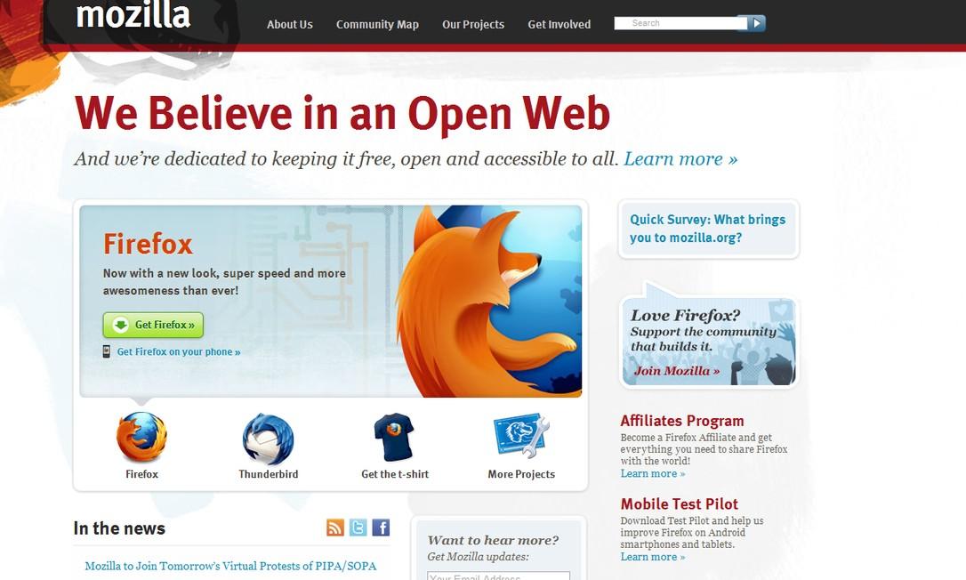 O site da Mozilla, desenvolvedora do Firefox, apresenta mensagem sobre internet livre Reprodução