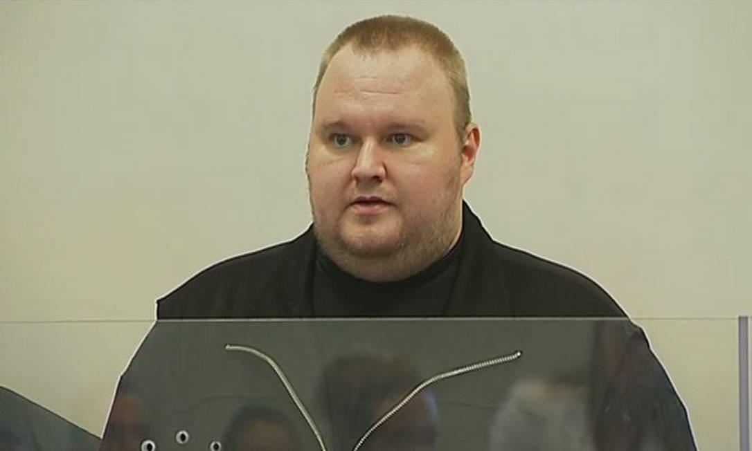 Fundador do Megaupload Kim Dotcom, um alemão também conhecido como Kim Schmitz, no tribunal de Auckland Foto: REUTERS TV / Reuters