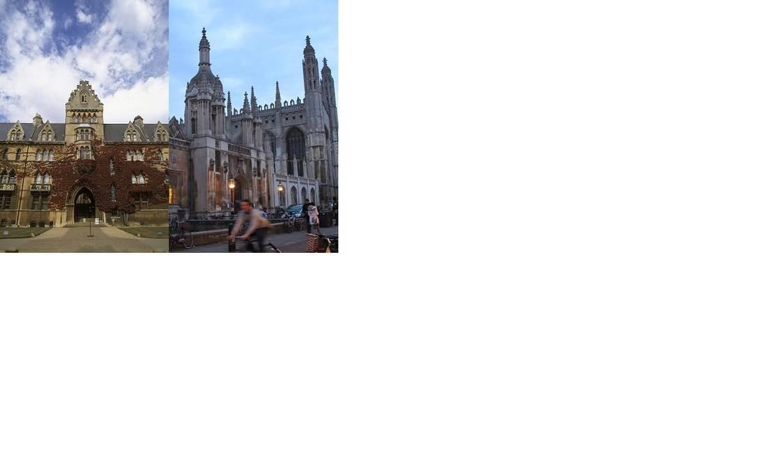 Christ Church College, da Universidade de Oxford, e prédio do King's College, da Universidade de Cambridge Foto: Montagem/Divulgação e Leonardo Cazes