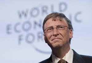Bill Gates, no Fórum Econômico Mundial Foto: AP