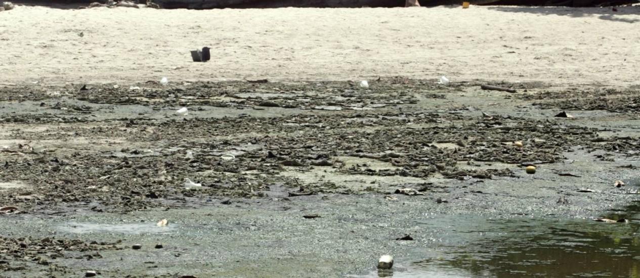 Língua-negra e barcos abandonados: situação preocupa frequentadores da Engenhoca Foto: Pedro Teixeira