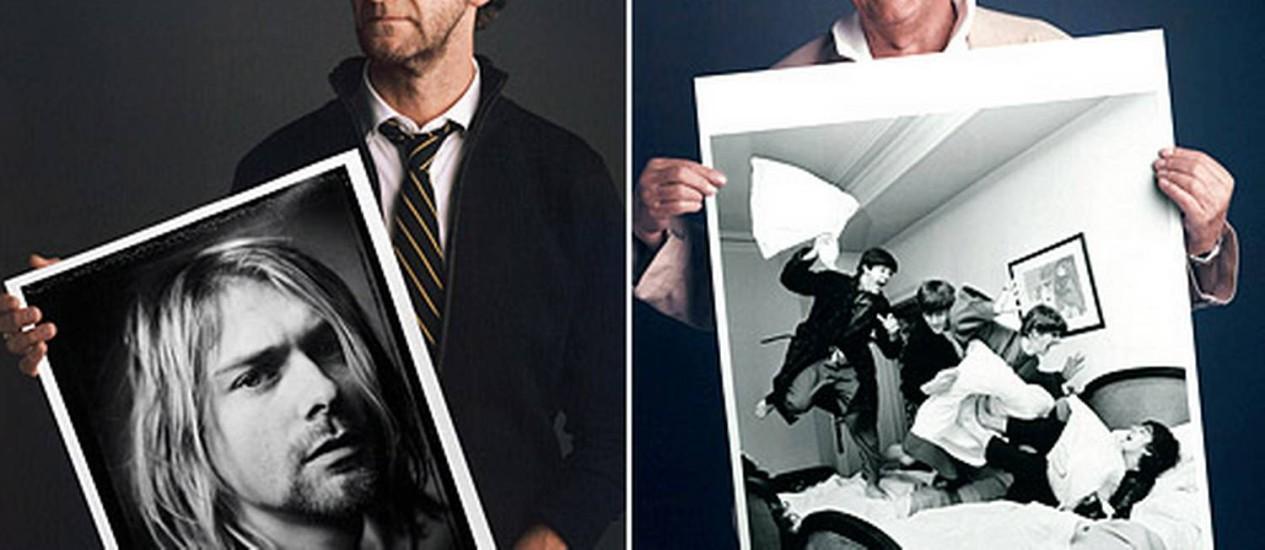 Mark Seliger em registro feito para dois meses antes do suicídio de Kurt Cobain e Harry Benson no momento em que os Beatles descobrem que estão no topo Foto: Divulgação