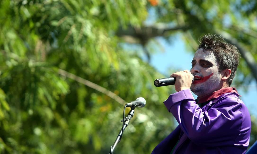 O Coringa, do Batman, solta a voz Foto: Felipe Hanower / O Globo