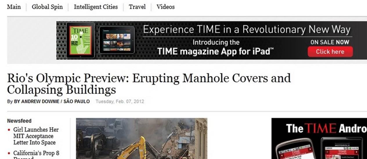 Reprodução do site da revista americana 'Time', que traz o artigo sobre o Rio Foto: Reprodução internet