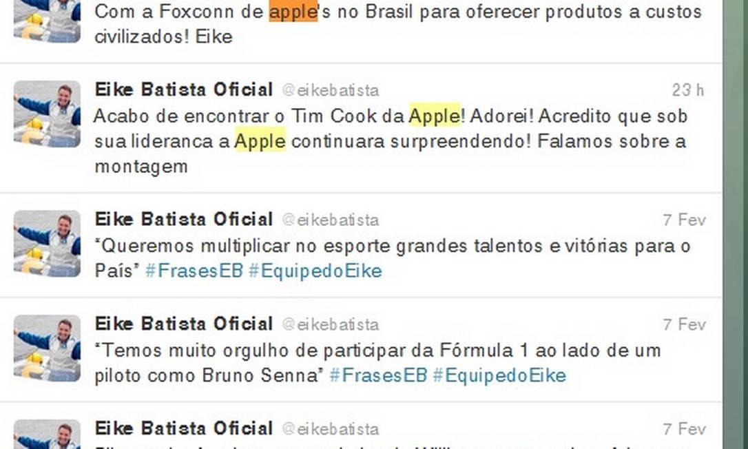 Pelo Twitter, Eike Batista fala sobre reunião mas não comenta detalhes do encontro Foto: Reprodução