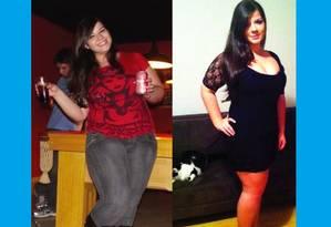 A vlogueira Ana De Cesaro no seu aniversário de 23 anos e no de 24, 12 quilos mais magra Foto: Reprodução da internet
