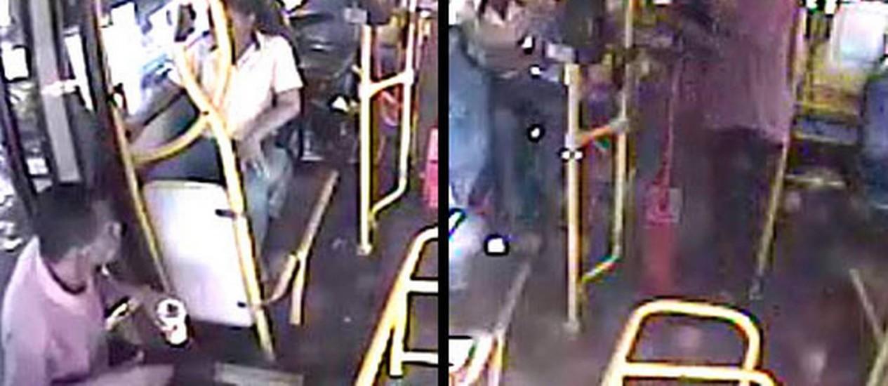 Câmeras de segurança mostram o momento em que o estuprador entra no ônibus e passa na roleta Foto: Polícia Civil / Divulgação