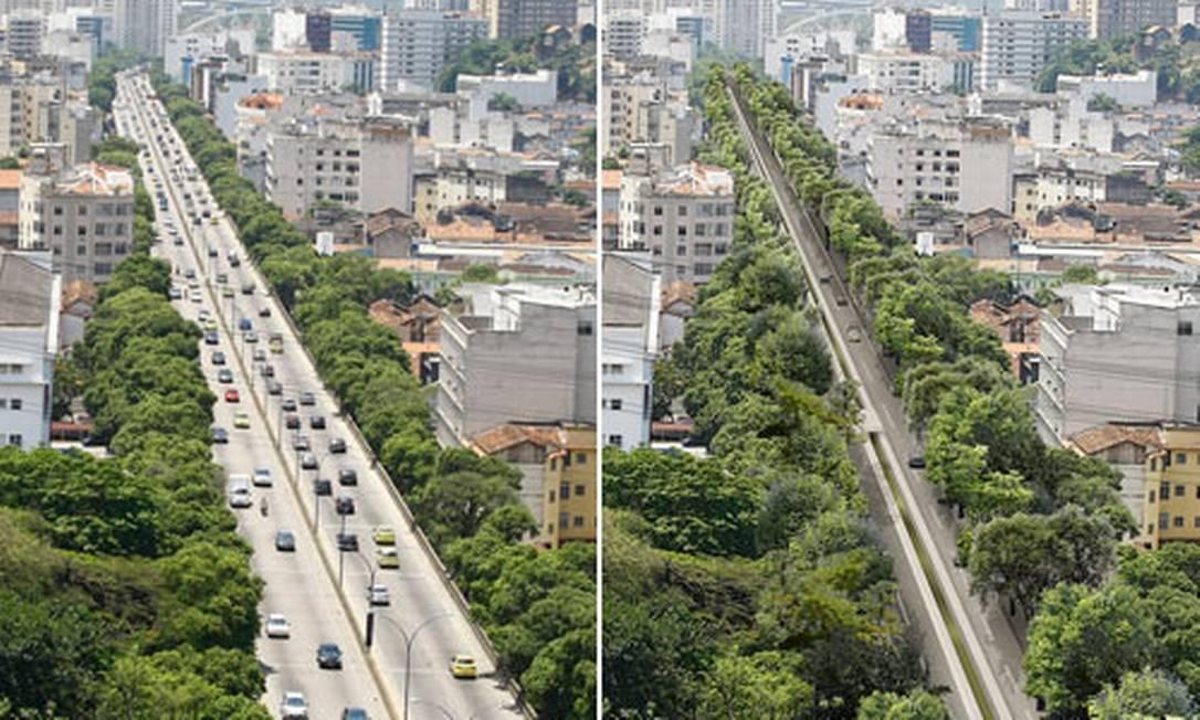 Simulação mostra como ficaria a Avenida Paulo de Frontin sem o elevado Foto: Foto: Pablo Jacob / Arte: Andre Mello / O Globo