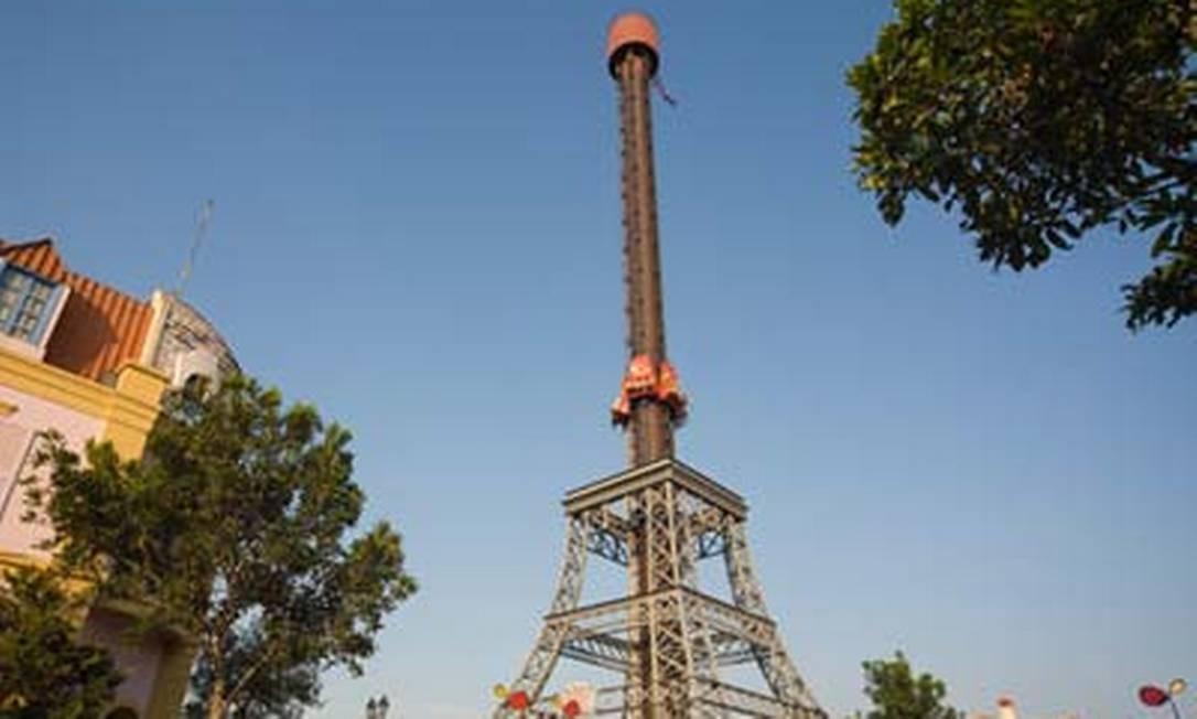 MP acompanhou perícia realizada nesta segunda-feira no brinquedo La Tour Eiffel, um elevador com 69,5 metros de altura Foto: Reprodução de imagem / Site Hopi Hari