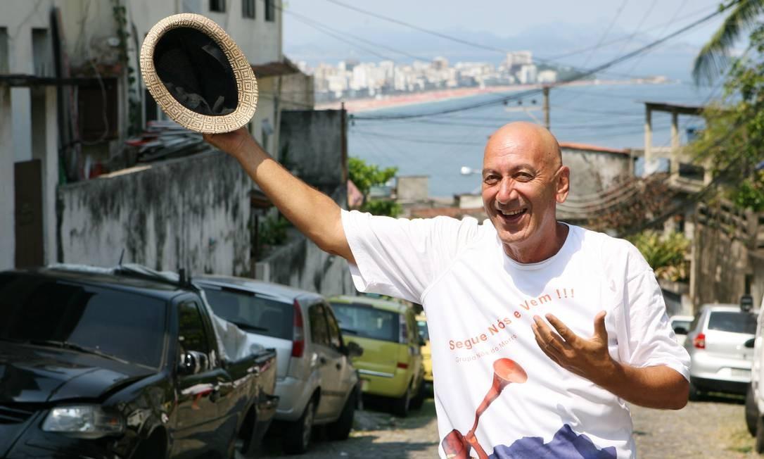 Guti Fraga, fundador do grupo Nós do Morro, no Vidigal Foto: Laura Marques