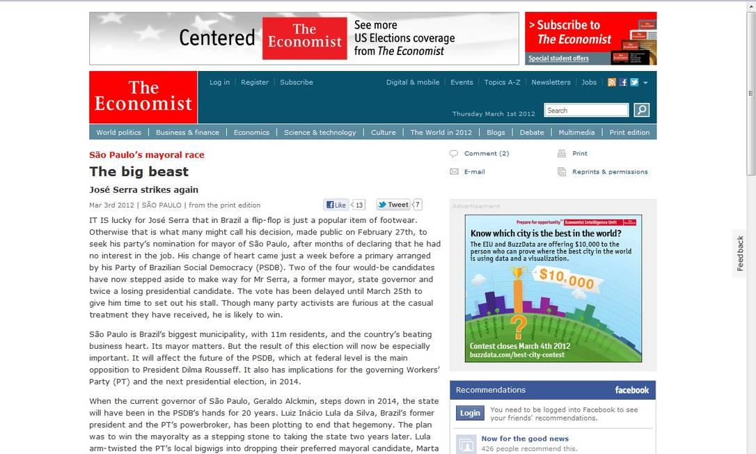 """O artigo publicado no site da revista """"The Economist"""" Foto: Reprodução"""