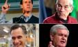 Rick Santorum (esq. alto), Mitt Romney, Ron Paul e Newt Gingrich