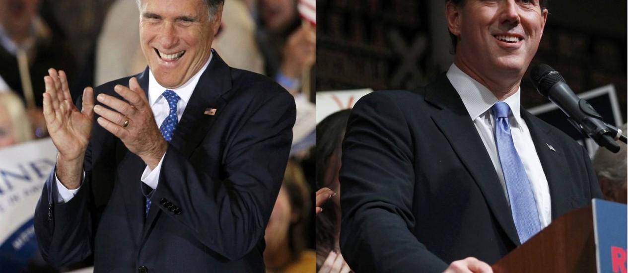 Mitt Romney e Rick Santorum discursam na Super Terça Foto: Reuters