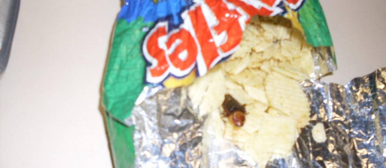 Consumidor afirma ter encontrado barata dentro de pacote de batatas fritas Foto: Foto do leitor João Villela