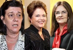Mulheres no comando: Magda Chambriard, na ANP, Dilma, na presidência, e Graça Foster à frente da Petrobras Foto: Arte sobre fotos