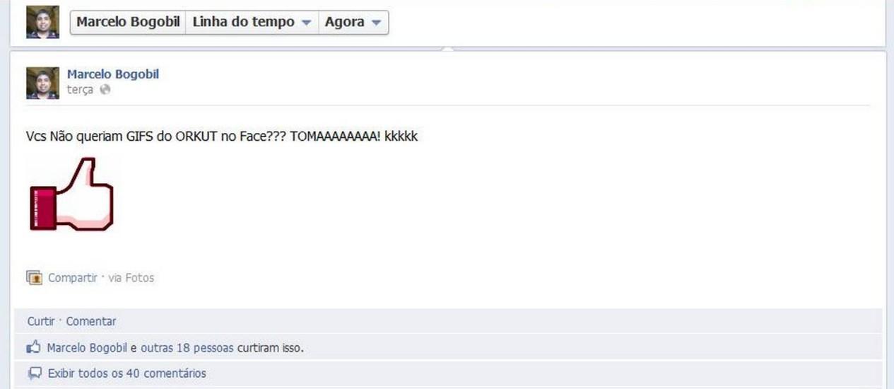 Gif publicado por usuário do Facebook tem o símbolo do botão 'curtiu' que muda de cor Foto: Reprodução