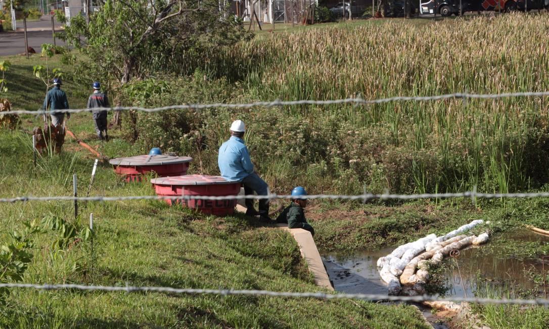 Contratados pela Shell, trabalhadores atuam em área isolada devido à contaminação por pesticidas sem o uso de todos os equipamentos de proteção necessários Foto: Marcos Alves / O Globo