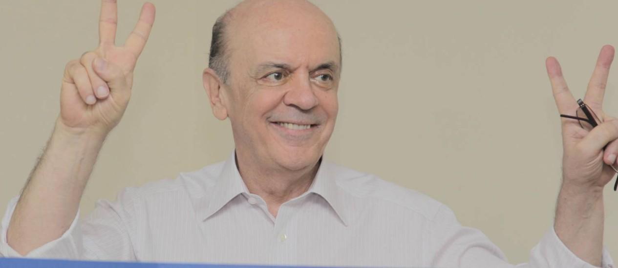 José Serra durante a prévia do PSDB Foto: Eliária Andrade / Agência O Globo