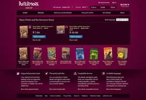 Loja online do site 'Pottermore' Foto: Reprodução