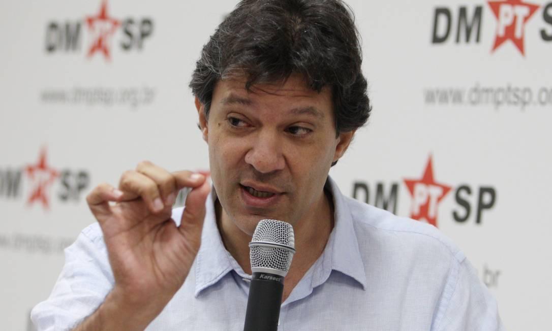 Após anunciar coordenador de campanha, Haddad diz que definição sobre nome do tesoureiro só ocorrerá em julho. Foto: Michel Filho / Arquivo O Globo