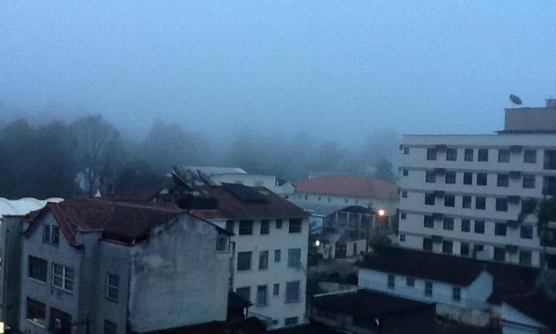 Apesar do tempo nublado, não choveu em Teresópolis na manhã deste sábado Foto do leitor Gabriel Freitas Santos / Eu-Repórter