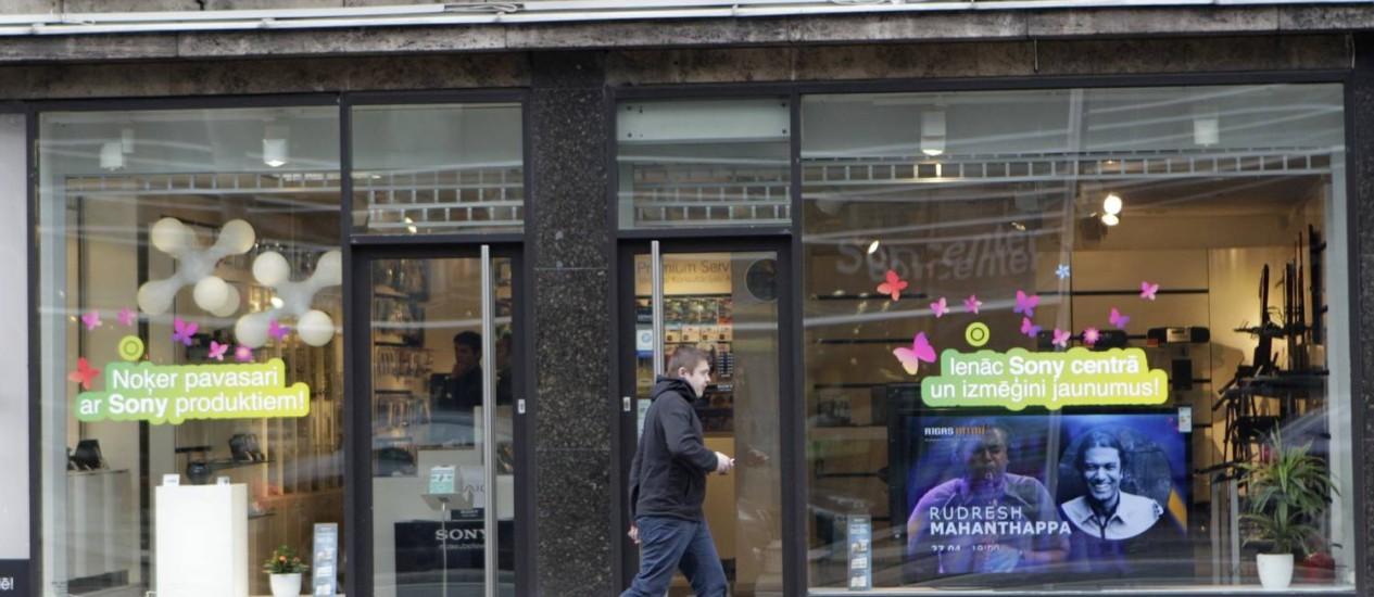 Loja da Sony na Letônia, produtos perderam espírito revolucionário Foto: Reuters