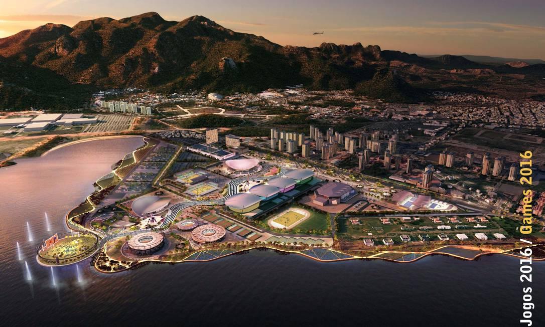 Projeção de como ficará o Parque Olímpico da Rio 2016, na área do Autódromo de Jacarepaguá Foto: Divulgação