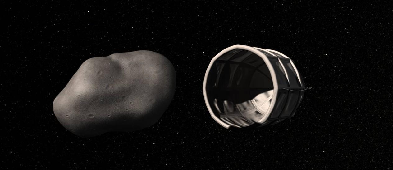 Ilustração da Planetary Resources mostra uma possível nave de reboque e mineração se aproximando de um asteroide Foto: AP/Planetary Resources