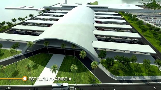Ilustração mostra o projeto da estação Arariboia do metrô Foto: Divulgação/ governo do estado