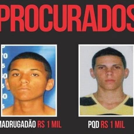 Patrick Augusto Santos de Oliveira, o Madrugadão, e Wallacy Santos Quintanilha, o PQD, são acusados de três assassinatos Foto: DIVULGAÇÃO / NÚCLEO PROCURADOS E DESAPARECIDOS