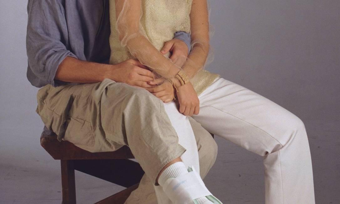 A estilista Bruna Bianchi com David Goldman, em foto de 14/04/1999 Marizilda Cruppe / O Globo