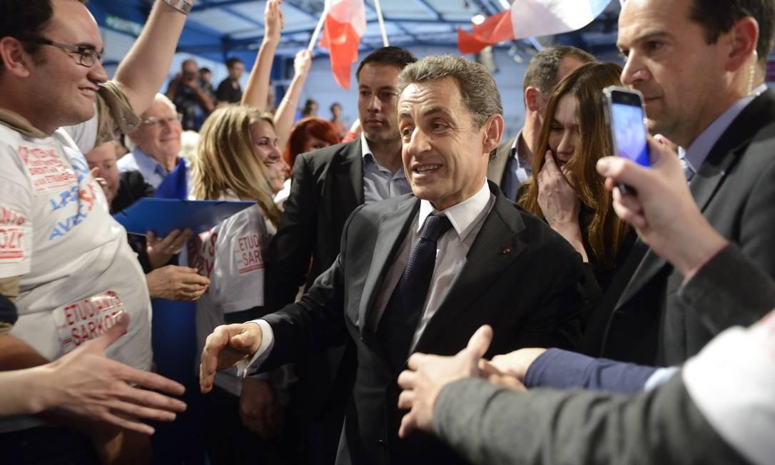 Nicolas Sarkozy participou de evento de campanha em Toulouse junto com sua mulher, Carla Bruni Foto: ERIC FEFERBERG / AFP