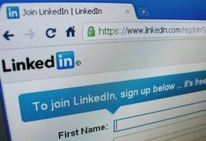 Registro do site da rede social LinkedIn Foto: Reuters