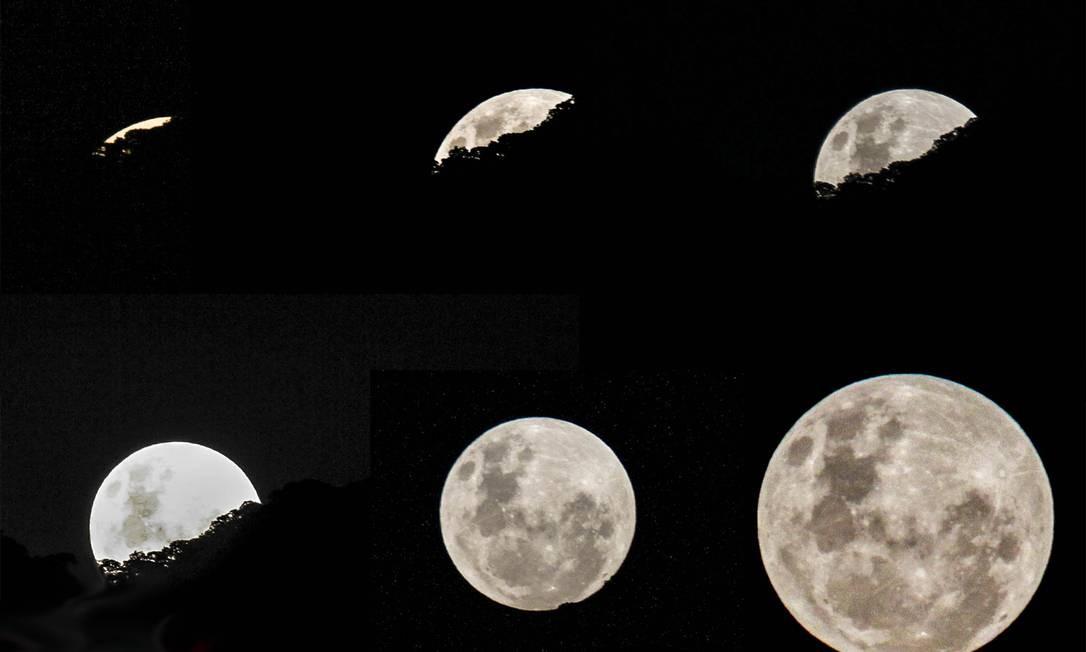 A evolução de como a lua surgiu no céu na noite de sábado no Rio e virou a madrugada Foto: Foto do leitor Leonardo Moura / Eu-Repórter