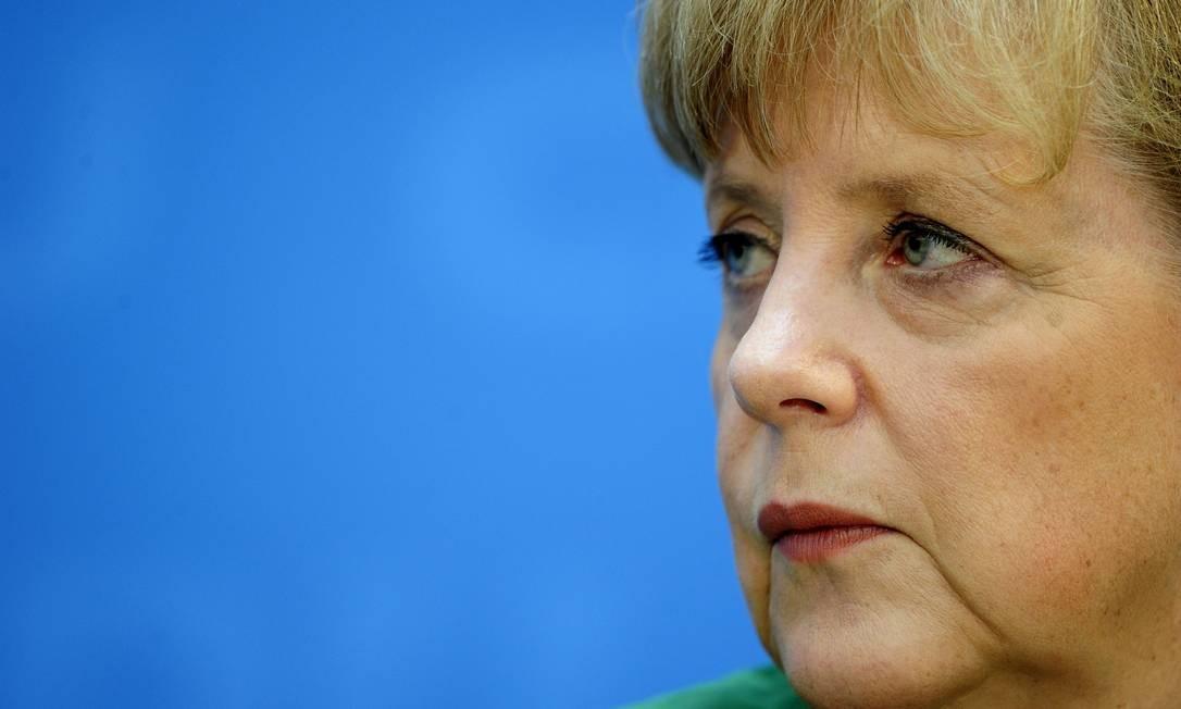 A chanceler Angela Merkel em conferência do seu partido, a CDU, em Berlim Foto: John Macdougall/AFP - 07/05/2012
