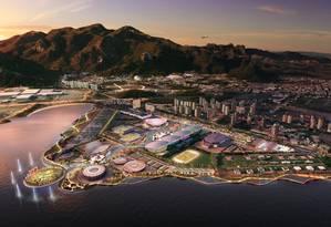 A área do Parque Olímpico, com a Vila Autódromo ao fundo (na lateral esquerda) Foto: Terceiro / Divulgação/Empresa Olímpica Municipal