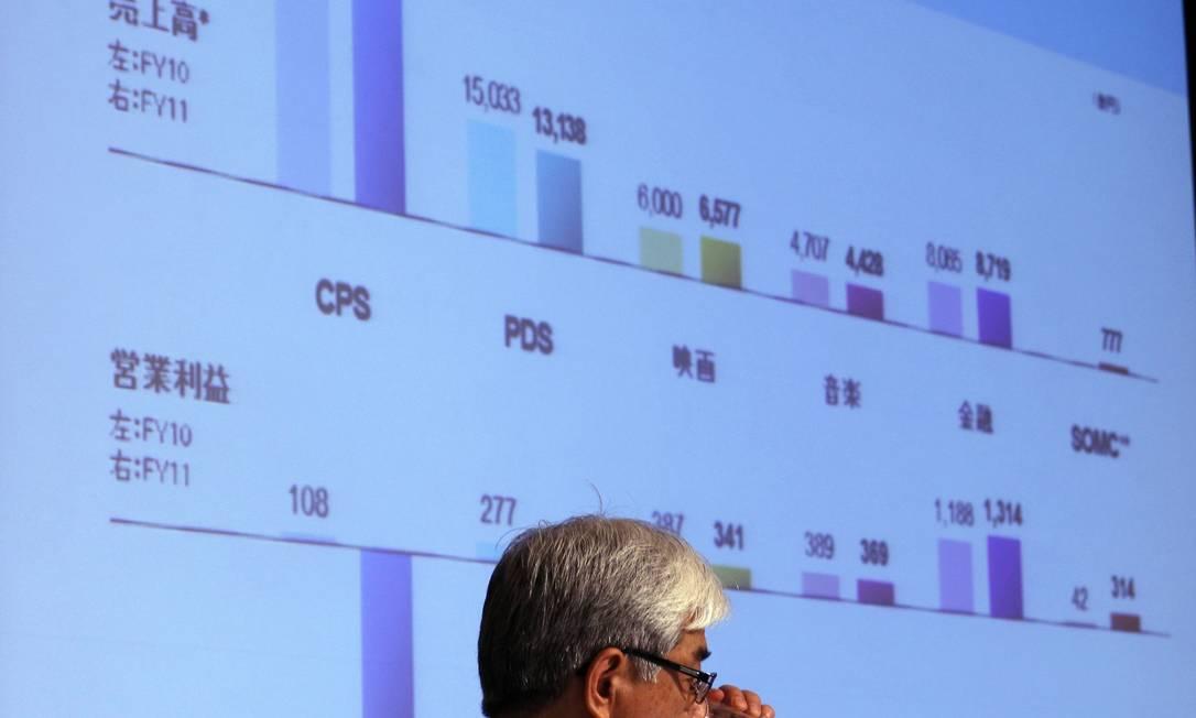 Chefe financeiro da Sony mostra resultados em reunião para acionistas em Tóquio, Japão Foto: Reuters